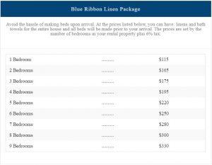 Blue Ribbon Linen Package